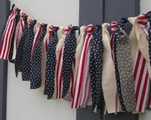 American flag garland, photo prop, 4th of July, party red white and blue vintage