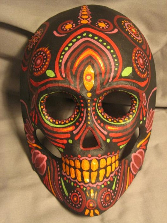 Day Of The Dead Hand Tattoo: Hand Painted One Of A Kind Day Of The Dead MASK