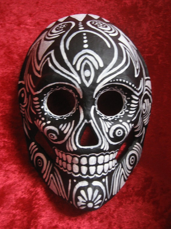 Hand Painted, one of a kind, day of the dead paper mache skull MASK
