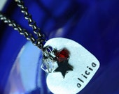 Customizable Necklace -Hand Stamped, Personalized and Custom-made - Metal Heart with Initials or Name