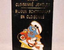 Vintage Motorcyclist Smurf Collectors Pin