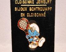 Vintage Tennis Smurf Collectors Pin