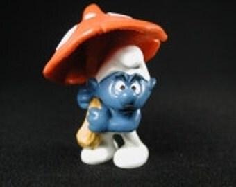 Vintage Mushroom Umbrella Smurf Figurine