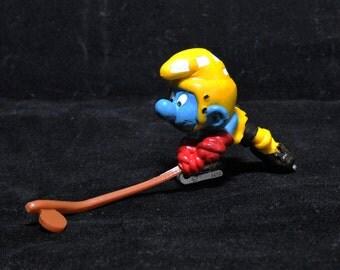 Vintage Ice Hockey Smurf Figurine