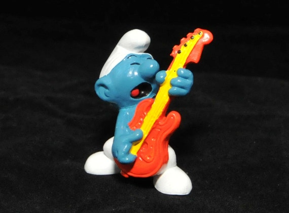 Vintage Rock and Roll Smurf Figurine - Red Guitar