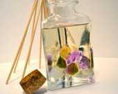 Reed Diffuser, Triangle Glass Bottle with Cork, Sweet Pea Fragrance