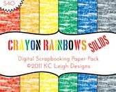 Digital Scrapbook Paper Pack - 12x12 300dpi - 6 Digital Papers - Crayon Rainbows Solids