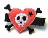heart 'n skull hair clip