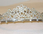 Vintage Silver Rhinestones & Pearls Head piece crown