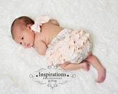 Vintage Romper Sunsuit in Beachcombing Beauty Peach Tan Blue for Newborn Baby Toddler Portrait Size 0-3 mos to 2T