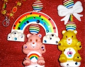 Care bears Birthday bear vintage harajuku kawaii rainbow deco den decoden necklace