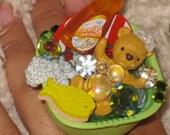 Teddy Bear rement re ment deco den decoden harajuku kawaii large adjustable ring