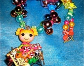 SALE SALE Lalaloopsy Holly Sleigh Bells Blue Christmas Holiday kawaii harajuku deco den decoden beaded necklace
