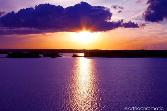 "Purple Sunset - 8x6"" Glossy Mounted Premium Fine Art Nature Photo Print - Affordable Artwork Decor"