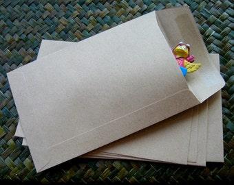 Set of 100 pcs.-- A6 Brown Kraft Paper Open End Envelopes (size 4.50 x 7 inch or 11.25 x 17.5 cm.)