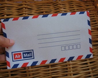 Set  of 25 Vintage Style Thai  Air Mail Envelopes : Self - Sealing   (Small Size 3.50 x 6.50 inch or 9 x 16.20 cm.)