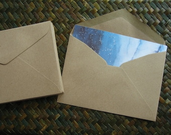 50 Brown Kraft Paper Envelopes - Triangle Flap (Medium Size 11.40 x 16.20 cm.or 4.50 x 6 3/8 inch)