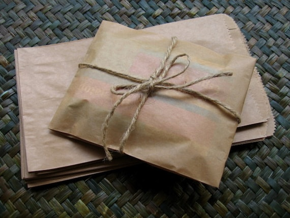 Set of 50 Brown Kraft  Paper Bags,Gift Bags  (size 11.5 x 19.5 cm.)