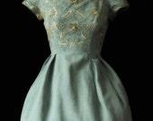 Vintage Jean Allen AT Harrods 1950's Light Blue Embellished Party Dress