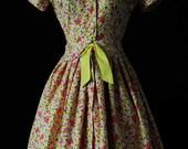 Vintage 1950's Yellow & Fushia Pink Floral/Roses Day Dress/ Tea Dres