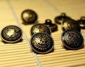 Rare Vintage-Style Royal Crown Antique Bronze Color Brass Buttons (x6 pcs) 17mm B2008