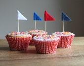 Cupcake Flags Party Cake Decorations Felt Rainbow