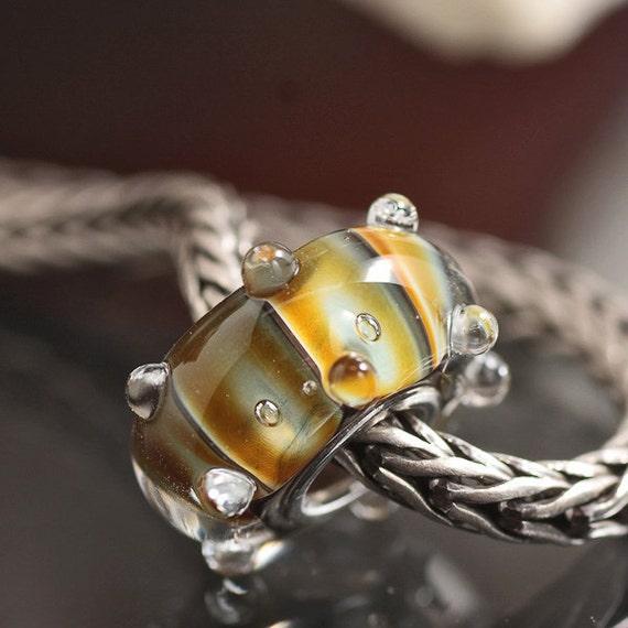 GlassBonBon tiny Caterpillar SRA Lampwork European Bead BHB fully cored