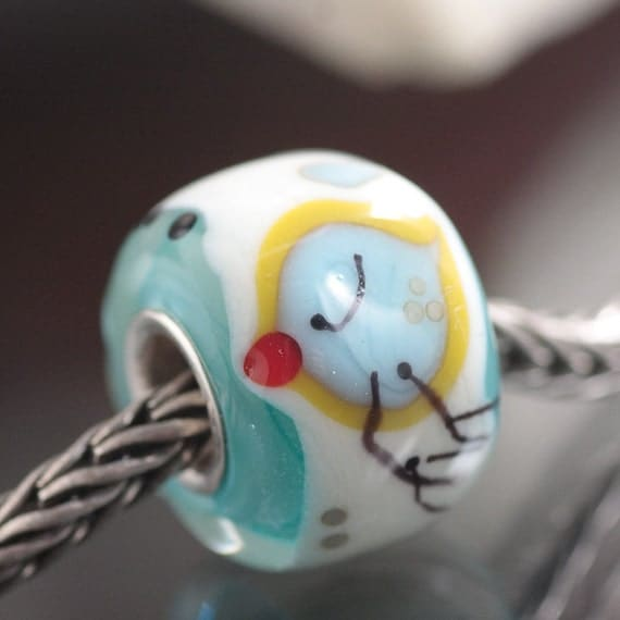 GlassBonBon LoveChirp Colorstorm ooak Solid Core Lampwork European Charm Beads SRA BHB fits trollbead etc.