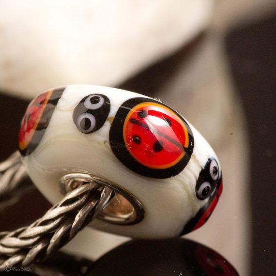 Reserved Listing for Nancy C Ladybugs SRA Lampwork Bead