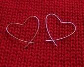 small silver heart hoop earrings - Valentine's Day