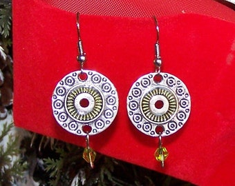 antiqued silver and green disc earrings