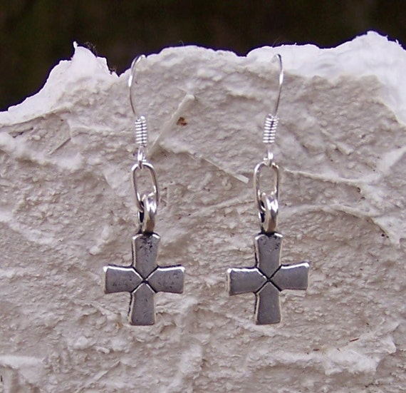 antiqued silver cross earrings