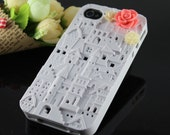 Vintage Victoria Whith European Style Building, pretty flower Case Cover ----for Appele iPhone 4 Case, iPhone 4s Case, iPhone 4 Hard Case