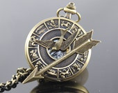 The Hunger Games Inspired Arrow with Mockingjay Mechanical Pocket Watch chain