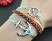 Anchor Rudder Bracelet---Antique Silver anchor ,rudder Real leather Bracelet, brown braid leather bracelet