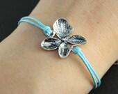 Bracelet---antique silver flower ,flower bracelet,blue wax cord chain