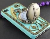 Eiffel Tower Pocket Watch ,love heart ,golden feather, flower,light green hard case --for iPhone 4 Case, iPhone 4s Case, iPhone 4 Hard Case