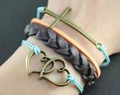 Cross Bracelet---Antique brass cross bracelet,Love heart pendant,blue wax cords bracelet,Brown braid bracelet