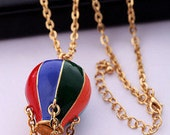 Colorful Hot Air Balloon Necklace,The air dream house necklace ,Pendant of color Hot Air Balloon on Gold Chain,Big Size