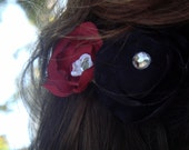 The Darling Blossom: Red, White and Black Satin Blossom with Rhinestones Hair clip