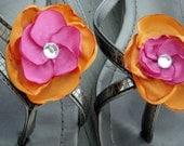 Pretty Plumeria Shoe Clips: Two-toned Orange and Pink