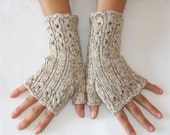 Elegant Fingerless Gloves  -  Cables and Lace - RESERVED LISTING