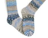 Knee Socks - Heavy Wool - Unisex - Blue, Grey and Beige mix