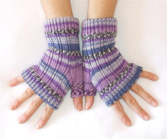 Woman   Fingerless Gloves  - Heavy Wool - Purple, Blue and Lilac