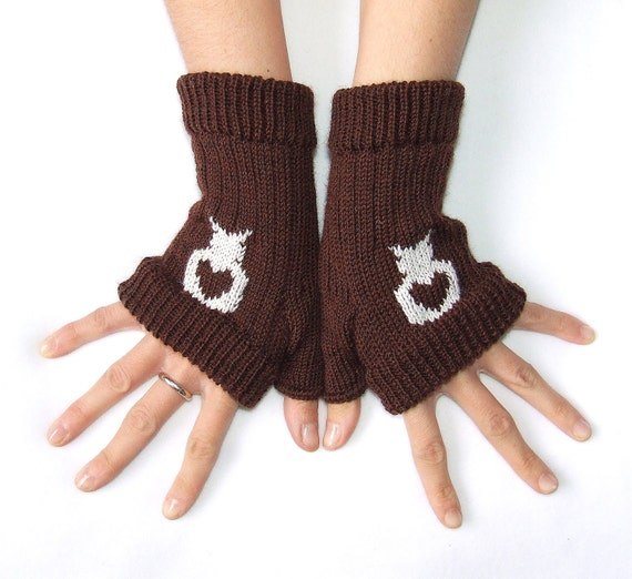 OOAK owls gloves, boho hand warmers