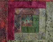 12 Block Log Cabin Pre Cut Quilt Kit  Batik Quilt Fabric by Island Batiks  CRANBERRY LEAVES