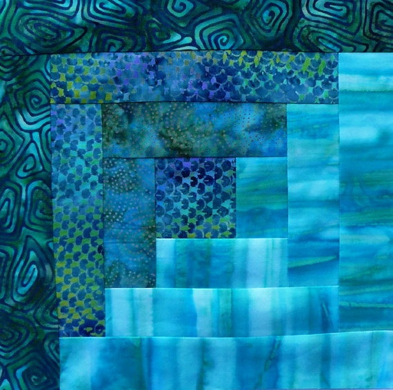 12 Block Log Cabin Pre Cut Quilt Kit Batik Quilt Fabric By