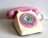 2 tone upcycled pink and cream bakelite vintage 1950s 50s 1960s 60s telephone phone home rotary ooak