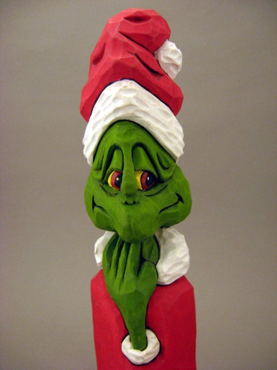 The Grinch Wood Carving