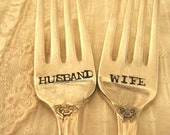 Husband & Wife - Set of 2 - Wedding Cake Forks Hand Stamped - Vintage Wedding